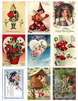 9 Vintage Valentine Kids Hang Tags ATC Scrapbooking Paper Crafts (164)