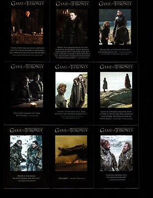 Game of Thrones  season 7  The Quotable  9 card set.
