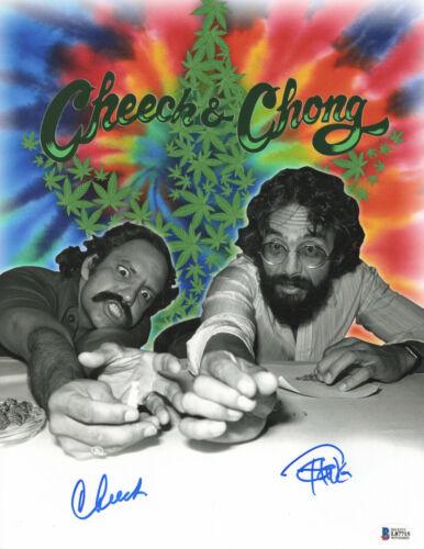 CHEECH AND CHONG SIGNED AUTO 11X14 PHOTO 'UP IN SMOKE' BAS BECKETT COA 373