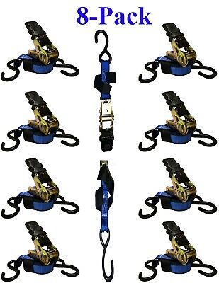 On Sale!! 1 in. x 10 ft. Blue Ratchet Tie Down Motorcycle, Camping Strap  8-Pack