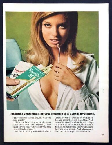 1968 Blonde Braless Dental Hygienist photo Tiparillo Cigar vintage print ad