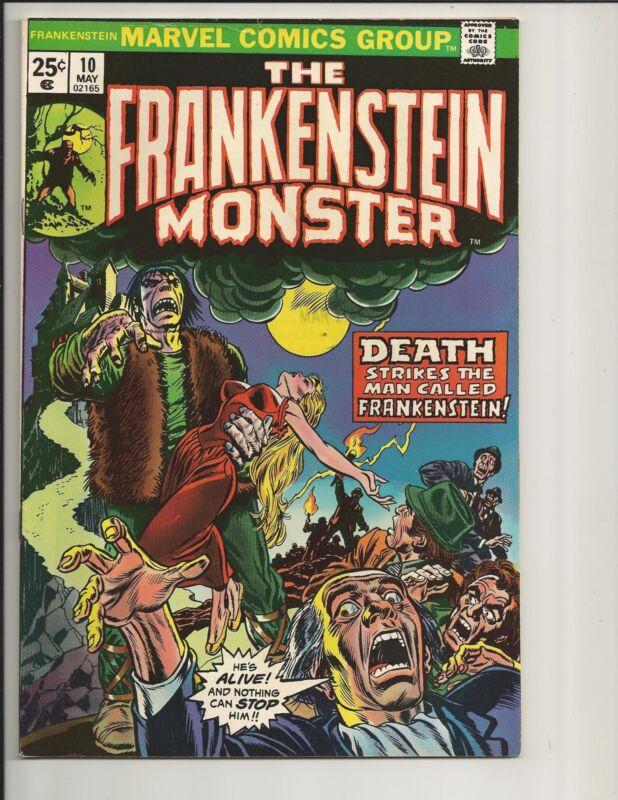 FRANKENSTEIN #10 FN+ FINE+ WHITE PAGES BRONZE AGE COMIC 1974 MARVEL COMICS