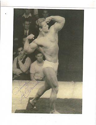 JOHN GRIMEK Posing at Mr America Contest  Bodybuilding Muscle Photo signed