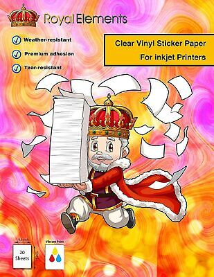 Royal Elements Clear Printable Vinyl for Inkjet Printers - 20 Waterproof Sheets  Clear Vinyl Sheets