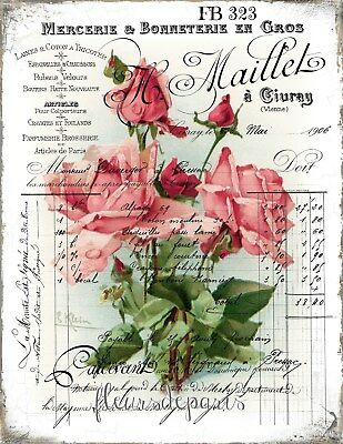 Shabby Chic Vintage French Pink Rose 1906 Invoice 1 Print on Fabric Block FB 232
