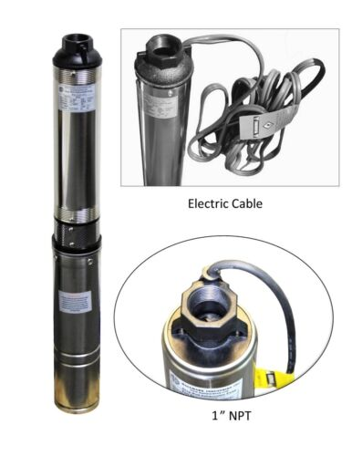 """Submersible Pump 3"""" Deep Well, 3/4 HP/115V, 13 GPM/247"""