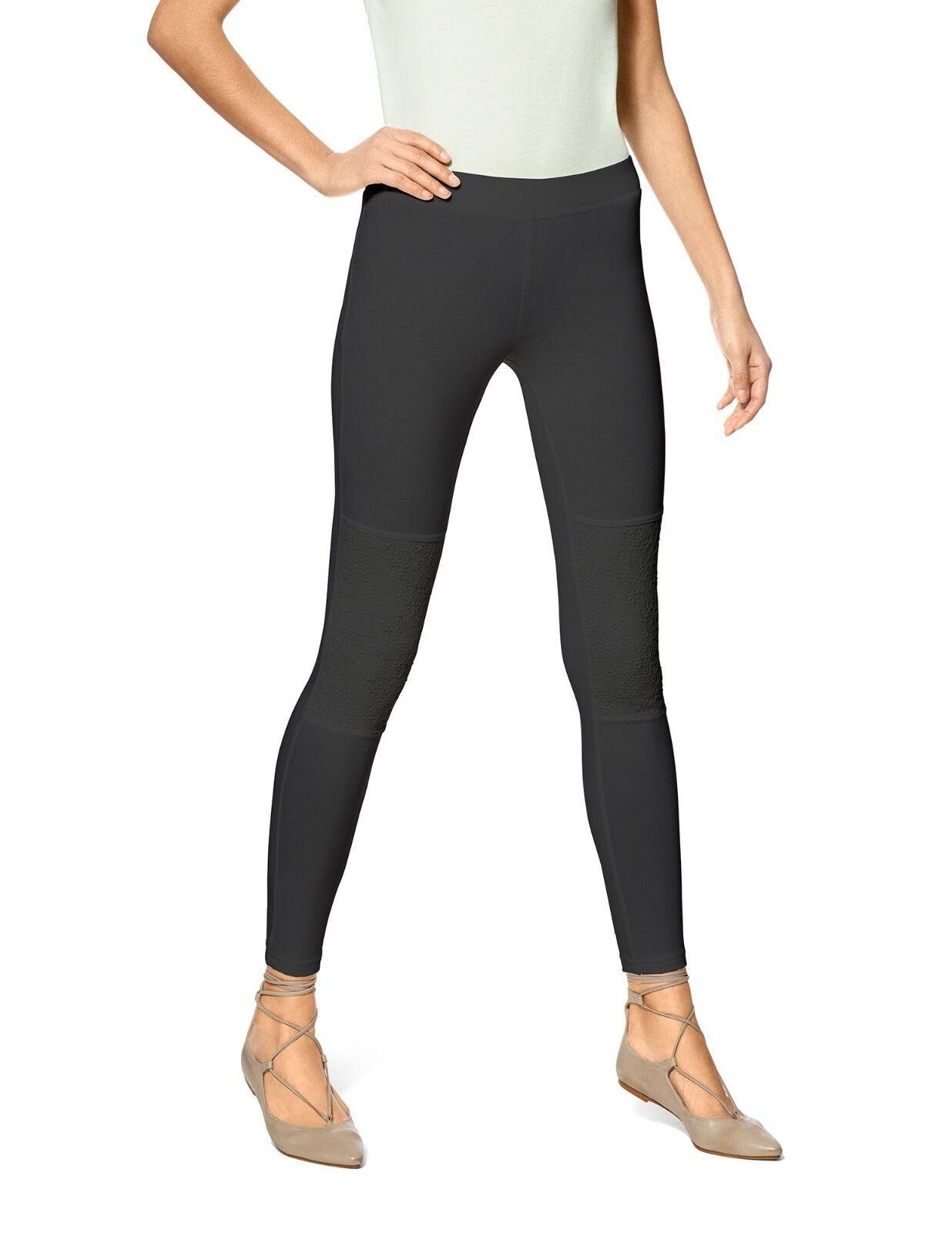 ca45966d879da7 Hue Leggings Sz S Solid Black Lace Knee Cotton Casual Legging 79001 ...