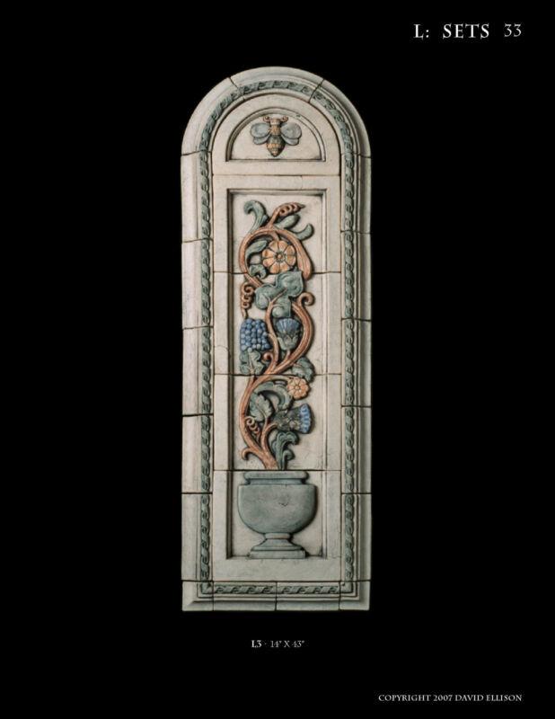SHOWER  BATH  GARDEN   FLORAL  PANEL  ARTS & CRAFTS  GOTHIC ELLISON TILE