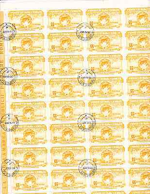 Roumania stamps 2 sheets  of 40 cancelled  1203 1204