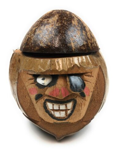 Authentic Pirate Coconut Head, Natural Coconut Drink Holder, Pirate Decoration