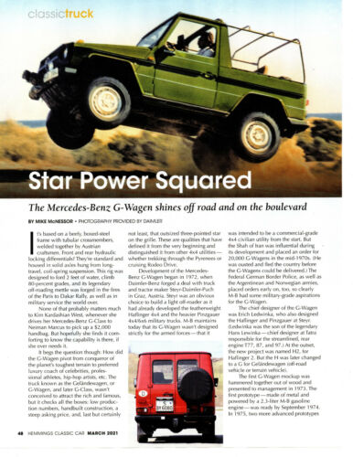 THE MERCEDES-BENZ G-WAGEN ~ GREAT 5-PAGE ARTICLE / AD