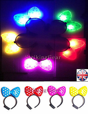 LED Light-up Flashing Party Headband Bow Minnie Design 5 Colours - SALE - Angels Costume Sale