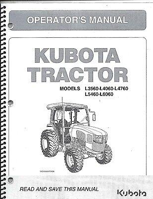 Kubota L3560l4060l4760l5460l6060 Tractor Operator Manual-cab Supplement Only
