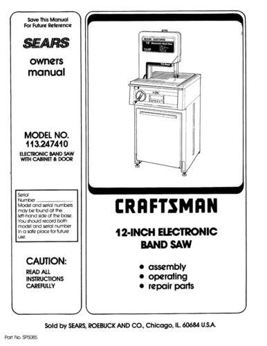 """Craftsman 12"""" Bandsaw Operators Manual 113.247410"""