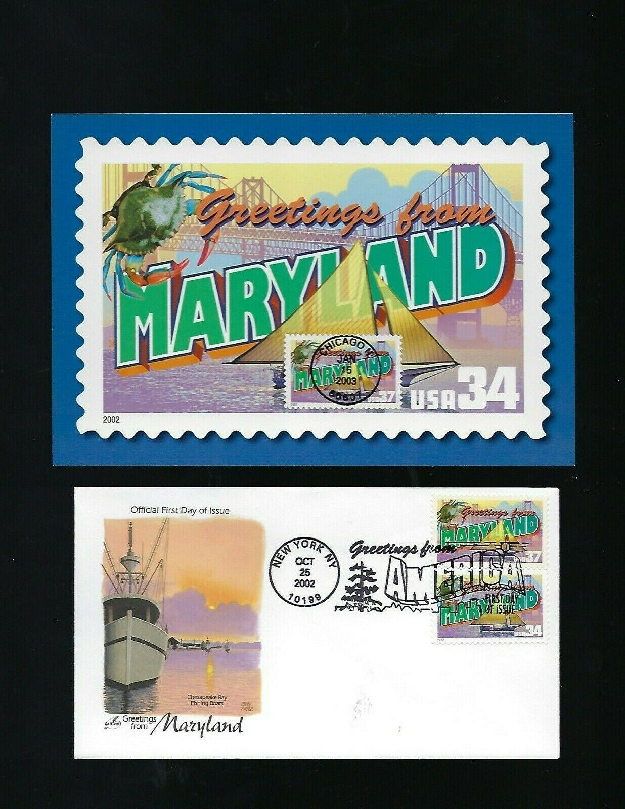 Maryland 2 FDC Artcraft Postcard USA Statehood Greetings Double Denomin Rare