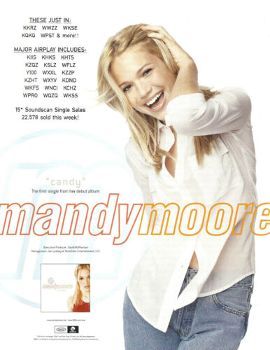 MANDY MOORE Rare 1999 Candy PROMO TRADE AD Poster for Self titled  CD MINT USA