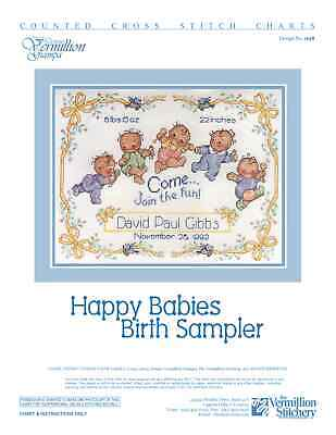 Happy Babies Birth Sampler Vermillion Stitchery Hand Cross Stitch Pattern 38](Happy Birth)
