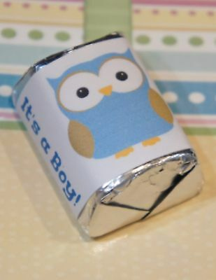 30 Baby Shower Its a Boy Owl Blue ** Hershey Candy Nugget Wrappers Stickers  - Owl Boy Baby Shower