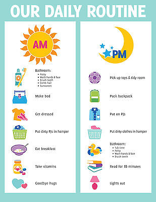 Smiley Face Charts - A5 Print - Children's Daily Routine Reward Chart includes Smiley Face Stickers