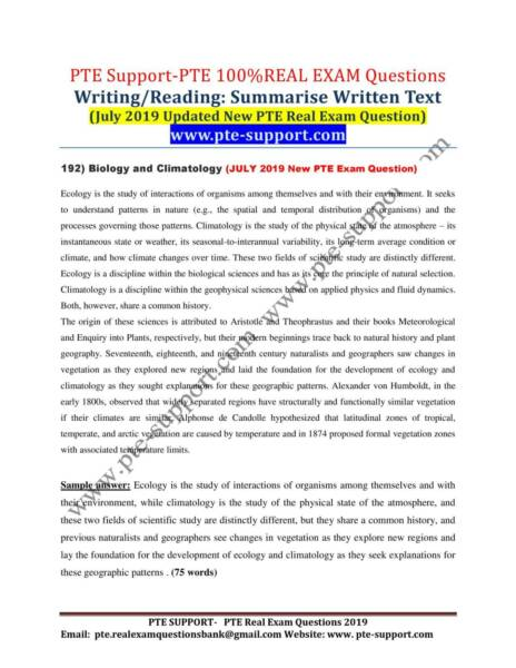 PTE Real Exam Questions Bank- September 2019 Updates -FREE