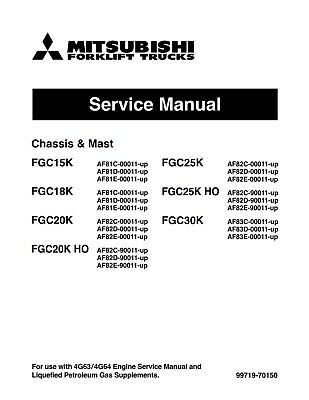 Best Mitsubishi Forklift Fgc20k Fgc25k Engine And Service Repair Shop Manual Cd
