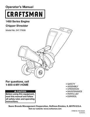 Craftsman 1450 Series Chipper Shredder Operators Instruction Maint Manual Cd