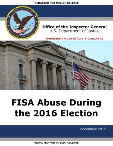 **PRESALE**PRINTED 550 Page HARD-COPY 2019 FISA Abuse Report DOJ OIG PDF Trump
