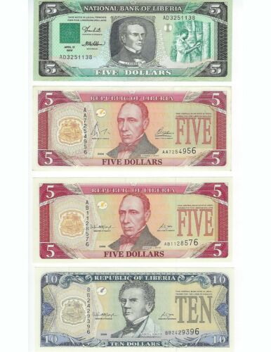 LIBERIA DIFFERENT ISSUES AND DATE COLLECTION   SEE SCANS 8 PCS LOT   NICE UNC