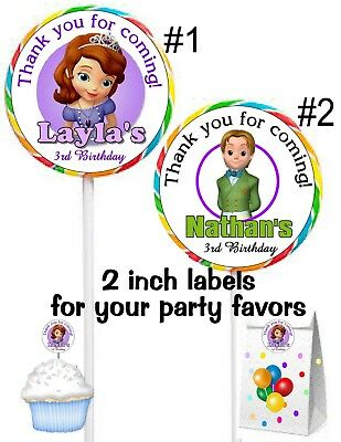 First Birthday Favors (20 SOFIA THE FIRST BIRTHDAY PARTY FAVORS STICKERS LABELS FOR YOUR)
