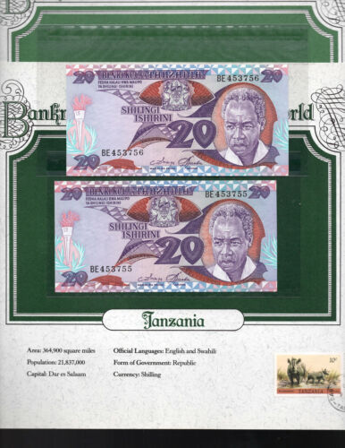 World Banknotes Tanzania 20 Shilingi 1985 P 9 UNC Prefix BE Consecutive