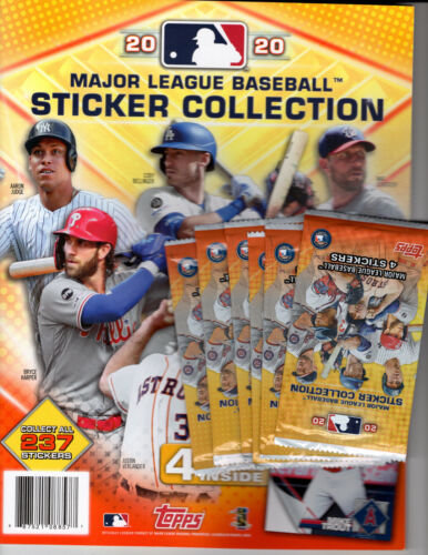 1 2020 Topps Baseball Stickers 44 Page Collectors Album-4bonus Stickers &6 Packs