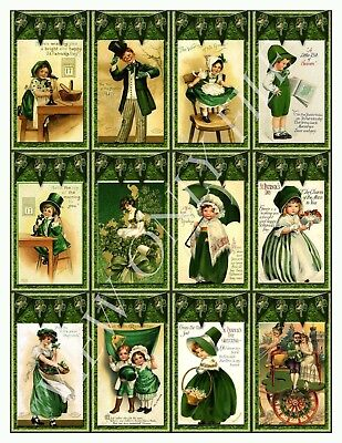 12 Vintage St Patrick's Day Flag Hang Tags Paper Crafts Scrapbooking (232)