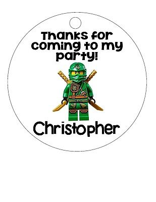 Personalized Ninjago birthday party favor tags, lollipop label stickers Lego](Ninjago Party Supplies)