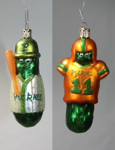 2 CHERRY DESIGNS BLOWN GLASS PICKLE PEOPLE HAND PAINTED CHRISTMAS ORNAMENTS