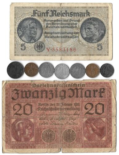 Rare Old WWI WWII Vintage Nazi Germany War Coin Note German Collection Big 9 Lot