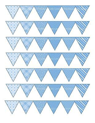 edible cake ribbon decorating icing Bunting Blue mixed patterns