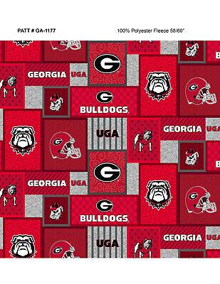 Bulldogs Fleece Blanket - NCAA- Georgia Fleece Fabric-Georiga Bulldogs Fleece Blanket Fabric-GA1177