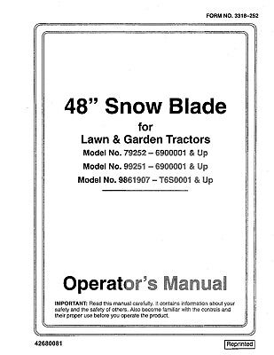 New Holland 48 Snow Blade For Lawn Garden Trac.om 9861907 Operators Manual
