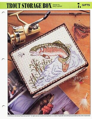 Trout Storage Box, Annie's plastic canvas pattern leaflet Box Plastic Canvas Pattern