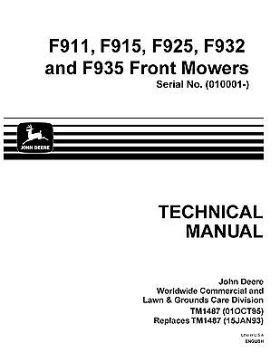 MINT* John Deere Technical Service Manual (TM-1487) For 900 SERIES FRONT MOWERS
