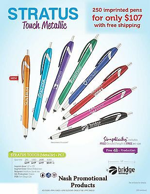 Promotional Stylus tip Ink Pens 250 Custom Imprinted for - Promotional Pen