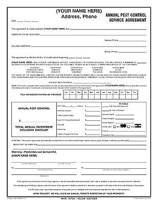 100 Annual Pest Control Service Agreement Forms