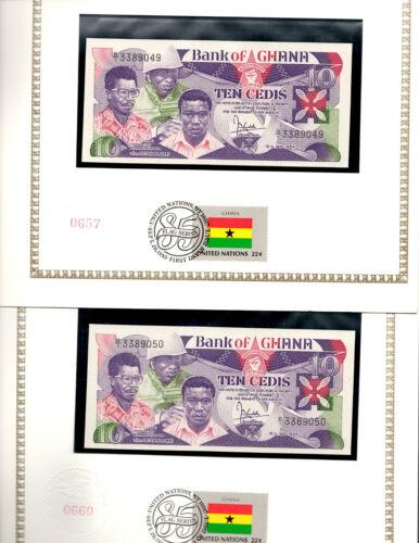 Ghana Banknote 10 Cedis 1984 P 23 UNC with UN FDI FLAG STAMP 2 Consecutive
