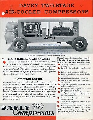 Davey Two Stage Air Compressor Sales Brochure Kent Ohio Catalog - 1930s