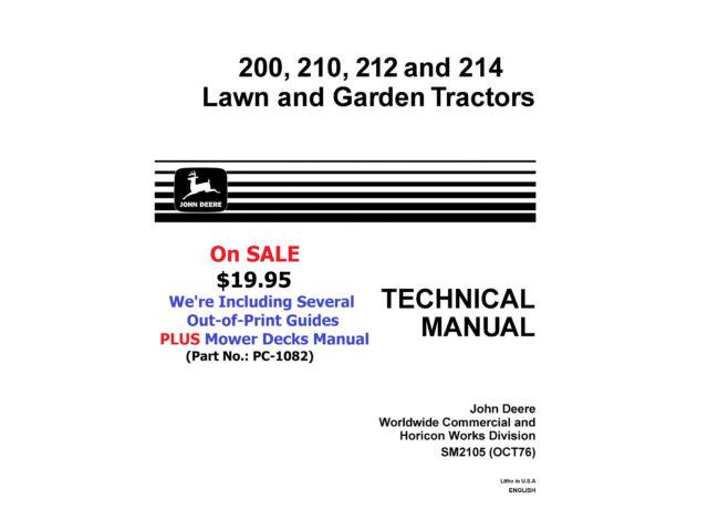 SM-2105 JOHN DEERE Tech. Shop Manual-200,210,212,2