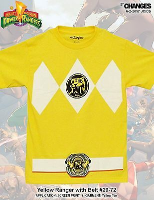Mighty Morphin Power Rangers Gelb Ranger Superheld Halloween Kostüm T-Shirt