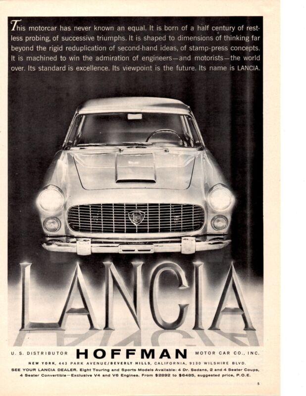 1960 LANCIA  ~  CLASIC ORIGINAL HOFFMAN MOTOR CARS PRINT AD