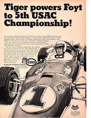 1968 A.J. FOYT / USAC CHAMPIONSHIP / FORMULA 1 RACING ~ ORIGINAL HUMBLE OIL AD