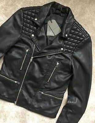 ALL SAINTS Catch Leather Biker Jacket Black Size XL conroy cargo kushiro BNWT
