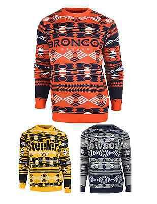 Crew Football Sweater - NFL Football Team Logo Aztec Print Crew Neck Ugly Sweater - Pick Your Team!